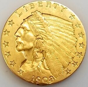 1908 $2.50 Indian Head gold piece! NO RESERVE!
