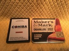 Set of 2 Cigar Tins (1 Cohiba, 1 Makers Mark) - PRICE REDUCED!