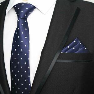 Tie Pocket Square Set Polka Dot Navy Blue and White Handmade 100% Silk Wedding
