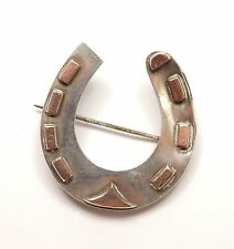 Antique Victorian 925 Sterling Silver Gold Fronted Lucky Horseshoe Brooch 5.8g