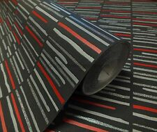 Grey, Red & Black  With Silver Glitter, Modern Design, Soft Feel, Wallpaper