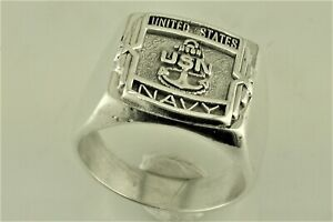 US Navy military sterling silver ring Size 12  19.5 Gram