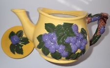 Gorgeous VINTAGE Bright Yellow Teapot with Blackberry Design & Woodland Theme Ha