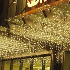Warm White 110V 3M*0.6M 96 LED Bulb String Fairy Lights Xmas Icicle Curtain Lamp