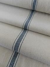 Feed Sack Fabric   Grain Sack Fabric   Blue 3 Stripe   Beige Background