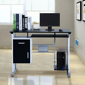 Computer Desk with Sliding Keyboard Tray Storage Drawers and Host Box Shelf-Blac