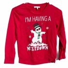 Ugly Christmas Sweater T-shirt having a meltdown snowman boys Small red