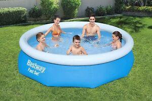 """Bestway 10ft x 30"""" Fast Set Swimming Pool Paddling Water Garden Fun Kids"""