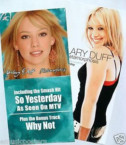 "HILARY DUFF ""METAMORPHOSIS - SO YESTERDAY"" 2-SIDED U.S. PROMO POSTER / BANNER"