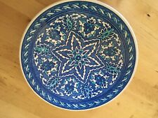 Vintage Turkish Kutahya Plate ChArger Blue White Iznik Decoration Burcu Gini