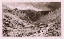 "Stunning Antique J L W PAGE 1800s Etching ""Badgworthy Valley"" SIGNED COA"
