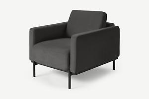 MADE.com Jarrod Living Room Modern Grey Plush Velvet Armchair - RRP £649