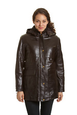 Excelled Women's Lambskin Leather Parka with Zip Out Liner Brown 1X #NK8Q2-M818