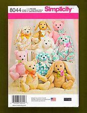 Simplicity Sewing Pattern 8044~2 Pattern Piece Stuffed Animals~Dog  Rabbit  Bear