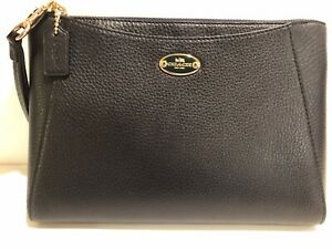 New Coach Clutch Purse Black Pebbled Leather Single Zipper New with Tags F53417