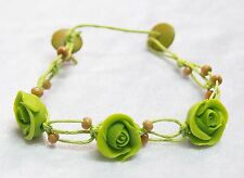 Bracelet Green Rose Clay Bohemian Bridal Wedding Flower Vine New Adjustable 8.5""