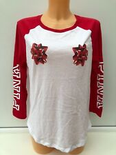 Victoria's Secret PINK Christmas Graphic White 3/4 Sleeve Tee Sizes M & L BNWT