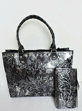 New ListingPatricia Nash Zancona Black Silver Embossed Leather Satchel & Cauchy Wallet Nwt