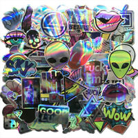 60Pcs Laser Stickers Bomb Tide Brand Alien Skateboard Decals Dope Pack Lot Cool
