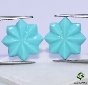Certified Natural Turquoise Hand Made Carving Pair 15 mm 7.81 Cts Gemstones