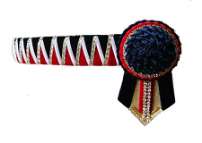 Browband Sharktooth red white navy carnations  silver by Starlight Browbands