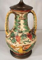 VINTAGE EARLY 20th CENTURY ITALIAN MAJOLICA DECORATED POTTERY LAMP