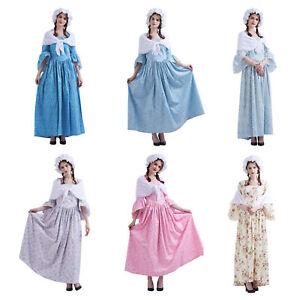 Women Dress Colonial Full Dress Pioneer Pilgrim Costume Carnival Floral Vintage
