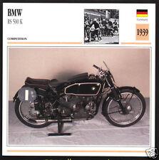 1939 BMW RS 500cc K Schorsch Meier German Race Motorcycle Photo Spec Sheet Card