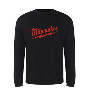 Milwaukee Black / Red Logo Hoodie Hoody Sizes S - 7XL Power Tool Work Wear New
