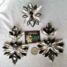 Jewelry Drag Queen Large Jet Crystal Set earrings Custom Large clip on clipon