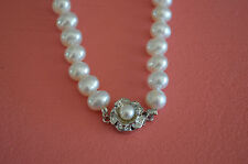 "Fresh Water Pearl Rose Design Necklace 18"" w/ Pearl Pendant"