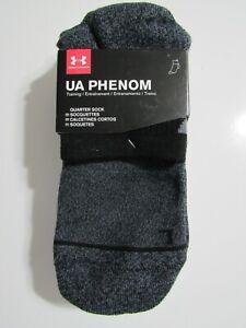 Under Armour Mens Phenom Training Performance 3 Pack Quarter Socks 8-12 Nwt