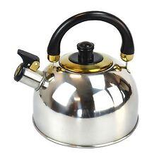 NUOVO 2.5l Bollitore in acciaio inox fischiettare cucina/Casa Campeggio piano cottura a gas cromato