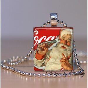 Coke Cola Santa Claus Necklace Altered Art Charm VTG Pendant Christmas