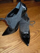 **Gorgeous GUESS Black Patent/Fabric Stiletto Heels Sz 7,5**