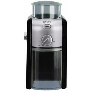 Krups Burr Coffee Grinder 8 oz. Black Finish Stainless Steel Adjustable Settings