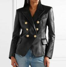 Trendy Chic womans spring PU Leather Blazer suit jacket slim jacket coat outwear