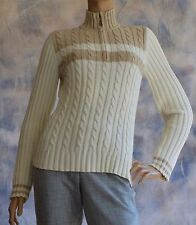 TOMMY HILFIGER 100% Cotton Sz M Cable Knit Sweater 1/4 Zip Two Tone White Beige