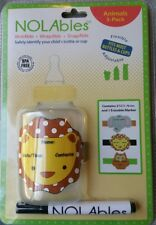 NOLabels Animal Reusable Write on Labels for Sippy Cups Water / Baby Bottles 3pk