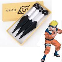 3PCS Naruto  Kunai Leaf Village Ninja Shinobi Cosplay Costume Props Toy (White)