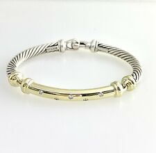 David Yurman Metro Diamond 925 Silver 14k Gold Cable Bracelet