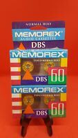 Vintage Memorex Cassette Tape 2 Pack DBS 60 Sealed in Package NICE