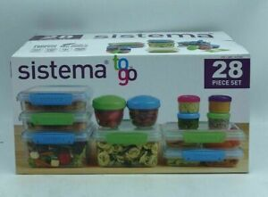 NEW Sistema 28-piece To Go Food Storage Set,BPA Free,Dishwasher & Microwave Safe