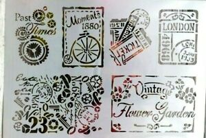 Vintage Past Times  Stencil Durable Furniture Wall ART Craft  29 x 21. cm