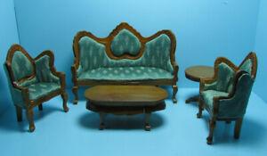 Dollhouse Miniature Wood Victorian Living Room Set Green Fabric & Walnut T0112