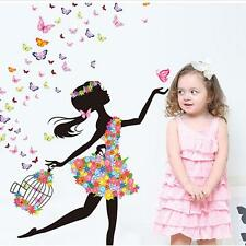 Butterfly Dancing Girl Removable Wall Sticker Vinyl Decal Home Room Mural Decor