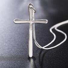 Damen Versilbert Kette Halsschmuck Halskette Kreuz Anhänger Mode