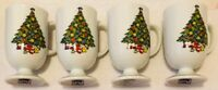 Set of Christmas Treasure Fine Porcelain Footed Mugs Hand Painted 24K Gold Trim