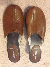 Miu Miu By Prada Studded Leather Clogs Size 8 USA