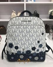 MICHAEL KORS EMMY FLORAL BACKPACK MK LOGO SIGNATURE SAFFIANO LEATHER NAVY